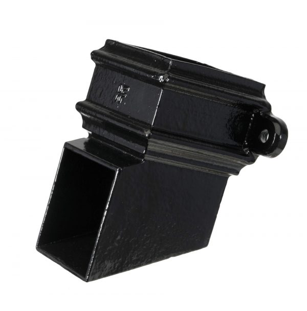 Cast Iron 75x75mm Square Pipe Eared Shoe Black